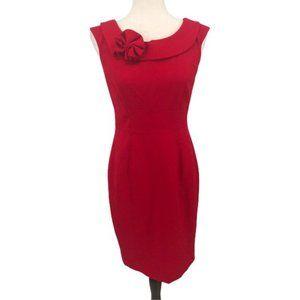 Calvin Klein Red Bow Collared Sheath Dress 4